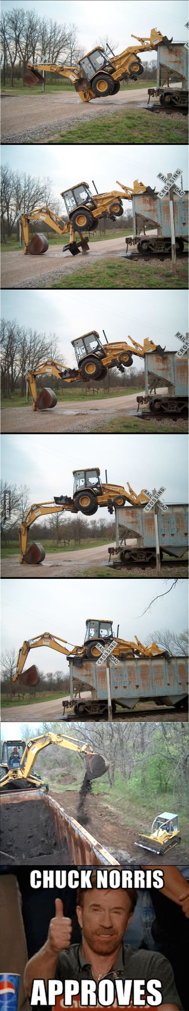Loading a backhoe without a ramp